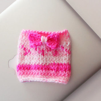 Knit Coffee Cozy - Knitted Bow - Coffee Cup Cozy - Reusable Coffee Sleeve - Bow Cup Cozy
