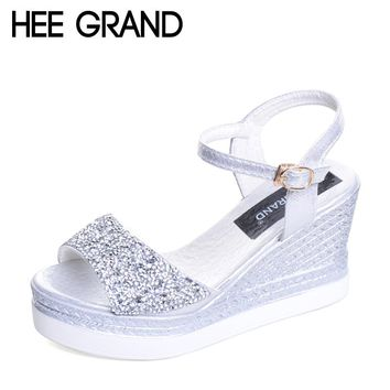 HEE GRAND Summer Glitters Wedges 2017 New Gladiator Sandals Platform Creepers Casual High Heels Gold Silver Shoes Woman XWZ4228