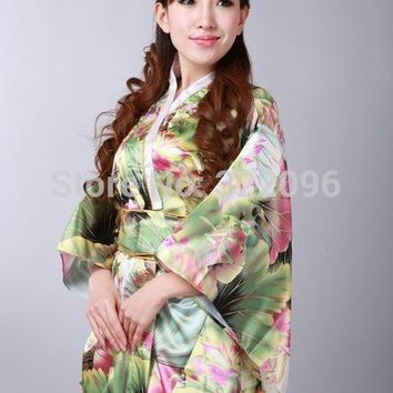 Shanghai Story Vintage Japanese Style Dress Japan Women's Faux Silk Satin Kimono Yukata Evening Dress