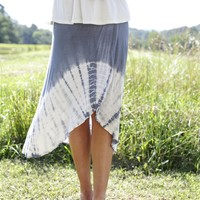 Next To Me Tie Dye Skirt, Slate