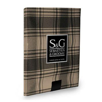 "Sebastien & Groome TCY6039060 Round American Plaid Tablecloth, 60"", Black/Beige"