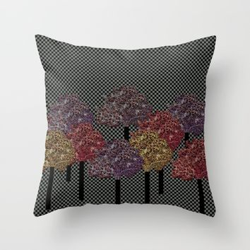 Autumn trees Throw Pillow by Bozena Wojtaszek