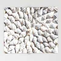 White Seashells Pattern Throw Blanket by PRODUCTPICS