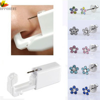 OPPOHERE 1 Unit Disposable Safety Sterile Body Piercing Gun For Ear Nose Piercing Gun Tool Machine Kit Flower Shape Studs