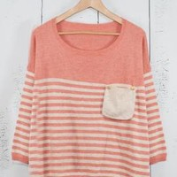 Dormitory Rules Striped Oversized Pocket Sweater in Pink | Sincerely Sweet Boutique