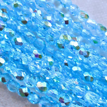 Lot of 50 3mm Aqua, Aquamarine Blue AB Czech beads, firepolished faceted Czech glass round beads, C7450