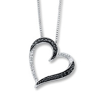 Diamond Heart Necklace 1/10 ct tw Round-cut Sterling Silver