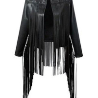 Hello Moto Fringed Leather Jacket