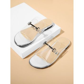Metal Detail Clear Flat Sandals Silver
