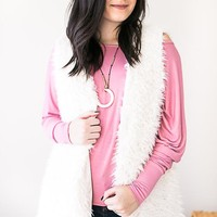 Soft Serenity Ivory Faux Fur Vest