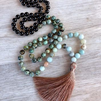 108 Mala Bead Necklace Amazonite African Turquoises & Onyx Necklace Knotted Prayer Yoga Tassel Necklaces Meditation Necklaces