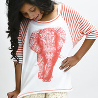 Aztec Elephant Stripes Sleeves Top