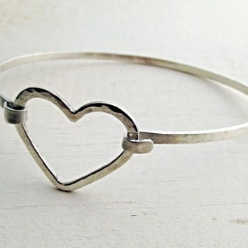 Solid Sterling Silver Hammered Cuff Heart Latch Hook Open Shiny Artisan Statement Festival Bangle Bracelet - Oh My Metals