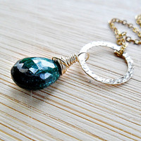 Emerald Necklace, 14k Gold Fill Infinity Ring AAA May Birthstone Necklace Wire Wrapped Precious Gemstone Emerald Jewelry Mothers Day SALE