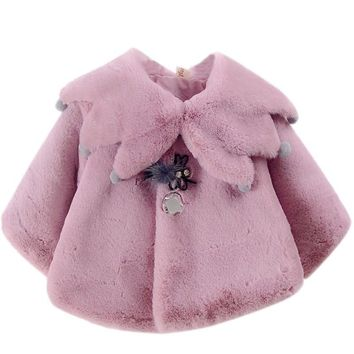 Winter Warm Sweet Style for Baby Girls Coat Princess Party Snow Wear Autumn Kids Cloak Outerwear K5