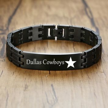 Dallas Cowboys Mens Bracelet Personalized ID Stainless Steel Black Silver Watchbrands Bangle Pulseira Masculina Free Engraving