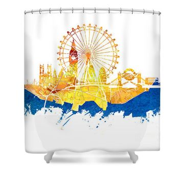 London skyline map city blue Shower Curtain