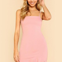 Preppy Ruffle Asymmetrical Mini Dress