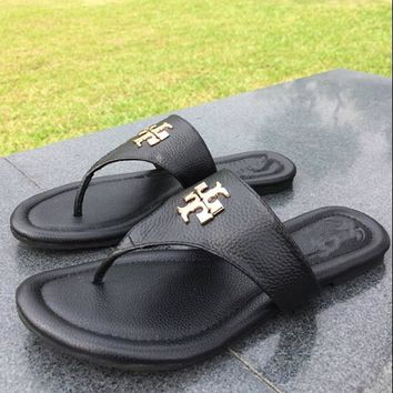 Tory Burch Women Fashion Leather Slipper Sandals Shoes-4