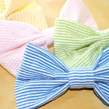 Seersucker Hair Bow in Various Colors