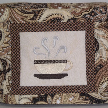Coffee Cup Toaster Cover - 2 Slice Toaster Cover - Brown and Beige Paisley