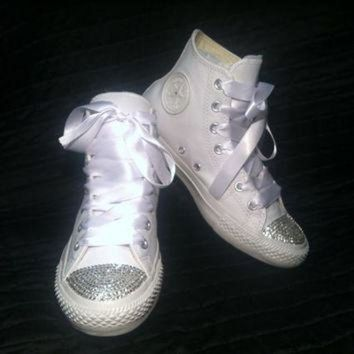 ONETOW custom converse wedding shoes chuck taylor all star white leather high tops w swaro