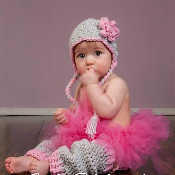 On Sale Baby Earflap Hat, Baby Leg Warmers, Gray and Pink, Crochet Hat