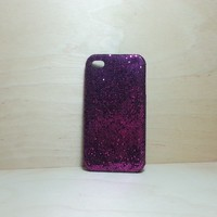 For Apple iPhone 4 / 4s Dark Purple Glitter Case