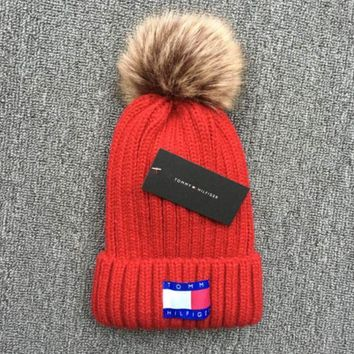 Tommy Hilfiger 2018 new thick knit cap and qiu dong warm wool hat Red