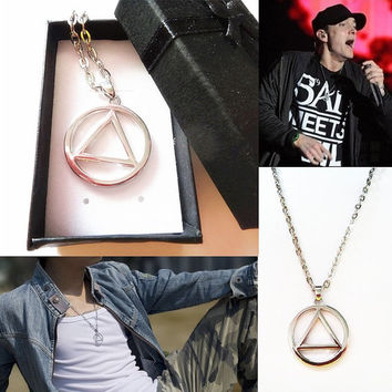 Simple Silver Circle Triangle Geometric Necklace, Eminem Hip Hop Necklace, Unisex Jewelry,--with GIFT BOX--U.S. Free Shipping