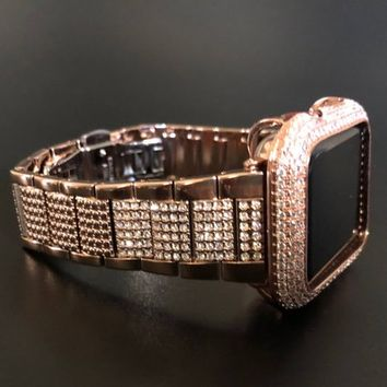 40mm 44mm Series 4 Rose Gold Apple Watch Band Womens Mens Stainless Steel  Iced Out Rhinestone Crystal Diamond Iwatch Bling Smart Watch