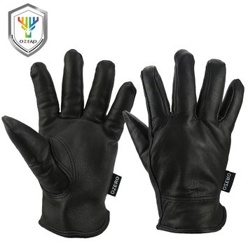 OZERO Work Gloves Deerskin Leather Security Protection Safety Garden Driver Workers Warm Sports MOTO Black Gloves For Men 8002