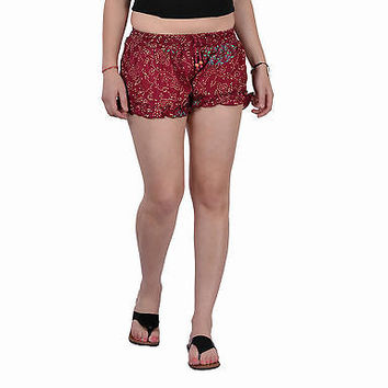Women Girls Maroon Shorts Online Sleepwear Flower Printed BeachWear Cotton