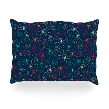 "Laura Escalante ""Fireflies Midnight Garden"" Dark Blue Oblong Pillow"