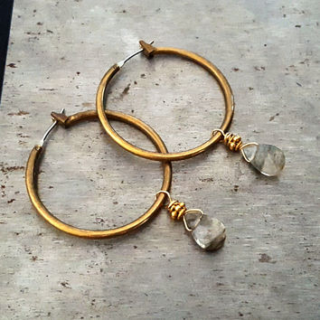 Gold Brass Hoop Earrings with Dangling Tourmalinated Quartz Stone