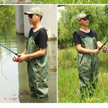 Outdoor Light comfortable Wear chest fishing waders boot waterproof Camouflage breathable fly wading rubber pants wader boots
