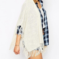 White Knitted Tassel Poncho