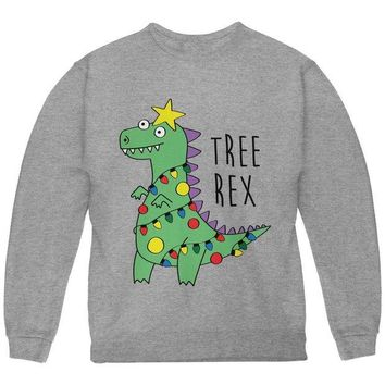 LMFCY8 Christmas Tree Rex T-Rex Funny Dinosaur Youth Sweatshirt