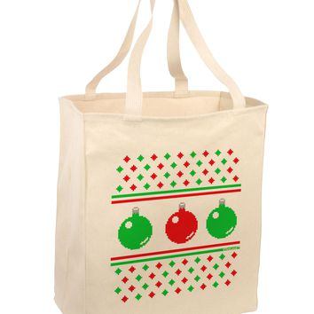 Ugly Christmas Sweater Ornaments Large Grocery Tote Bag