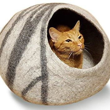 Meowfia Premium Felt Cat Cave Bed (Large) - Eco Friendly 100% Merino Wool Bed - Grey