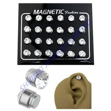 316L Stainless Steel CZ Magnetic Plug Fake Cheater Tunnel Earring Jewelry Body Piercing