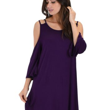 Lyss Loo Sassy Sunk Kissed Strappy Purple Shift Dress