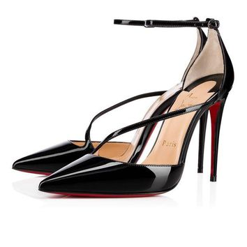 PEAP2Q Christian Louboutin Cl Fliketta Black Patent Leather Pumps 3170439bk01 -