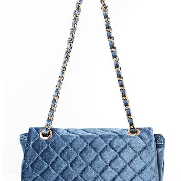Blue Velvet Quilted Shoulder Bag