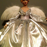 Silver Christmas Tree Top Angel Porcelain Handcrafted OOAK Holiday Treetop Blonde