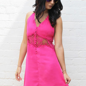 Button Front Crochet Lace Insert Dress in Fuchsia Pink