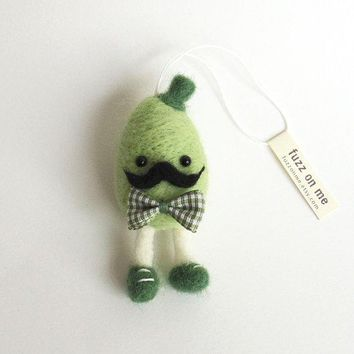 Easter Felt Ornament : Fuzz Mustache Egg Man   Grean With A Check Bow Tie.