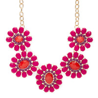 Marissa Fuchsia Gem Flowers Statement Necklace