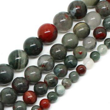 Natrual Stone Beads African Blood Jasper Beads For Jewelry Making Bracelet Necklace 15inches 6/8/10/12mm Pick Size