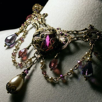 Amethyst Purple Champagne Crystal Pearl Drop Choker Necklace Steampunk Jewellery Vintage Victorian Bridal Style